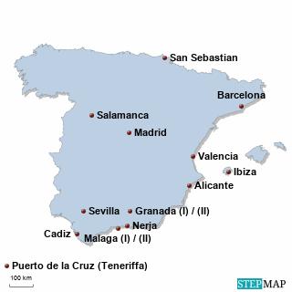 Spanien Karte DIREKT Sprachreisen