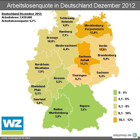 Arbeitslosenquote in Deutschland Dezember 2012