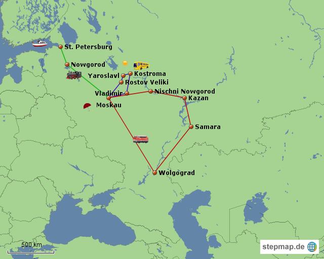 Fahrtroute Russland