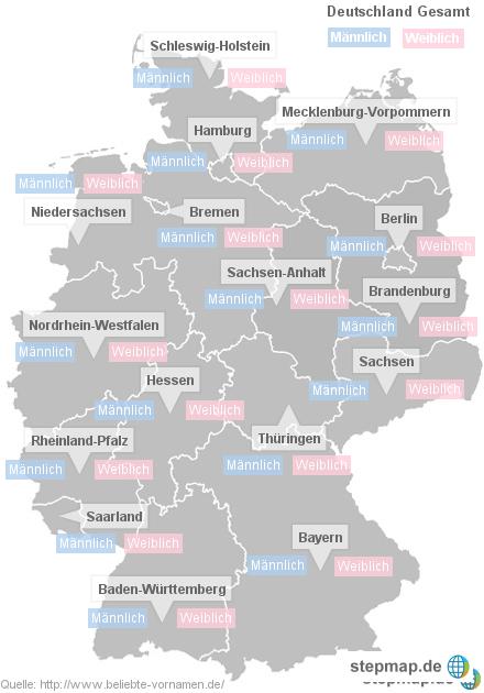 Die beliebtesten Vornamen 2012 der Bundesländer