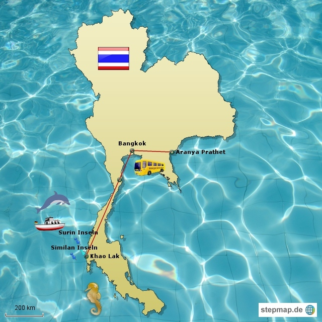 Reiseroute Thailand (Bus)