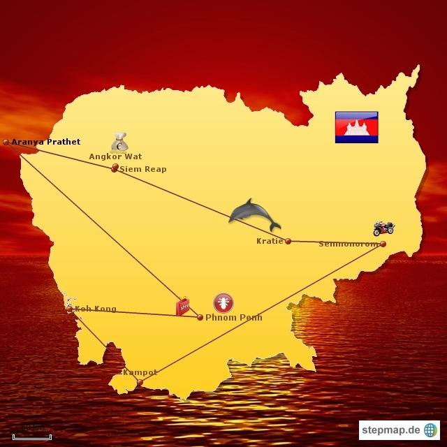 Reiseroute Kambodscha