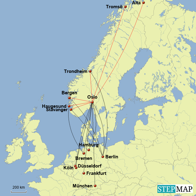 Flugverbindungen Norwegen