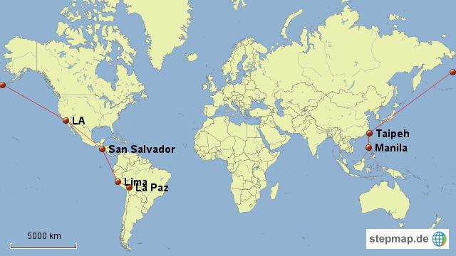 Von Suedamerika ueber Mittelamerika und Nordamerika nach Asien