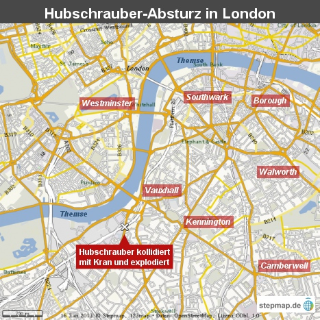 Hubschrauber-Absturz in London