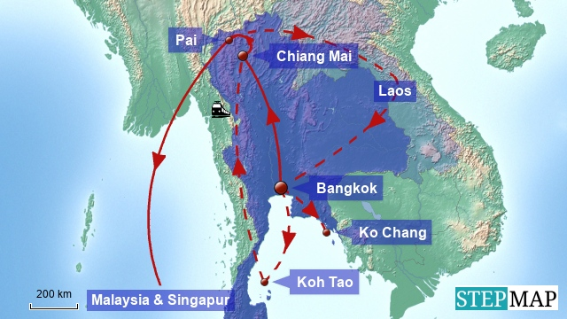 Sationen der Lords of Backpacking in Thailand