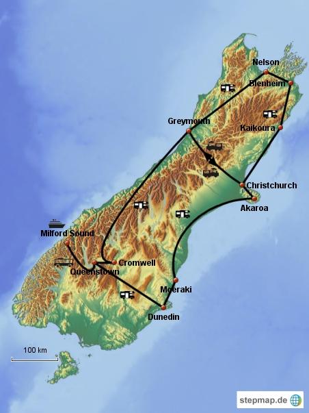 Route auf der Südinsel (Stand: 24.01.13)