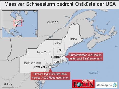 Massiver Schneesturm bedroht Ostküste der USA