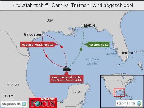 Kreuzfahrtschiff Carnival Triumph wird abgeschleppt