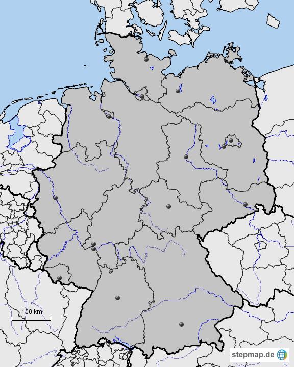 Stepmap Deutschland Stumme Karte Bundesländer Flüsse Nachbarländer