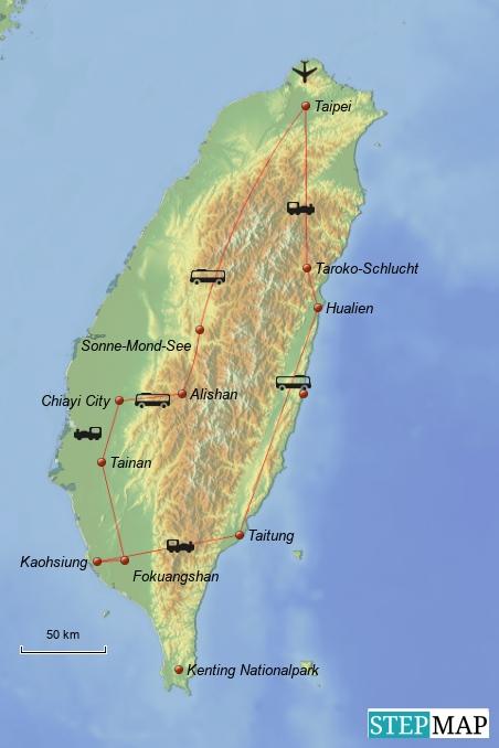 Wir landen am 21. in der Hauptstadt Taipei.