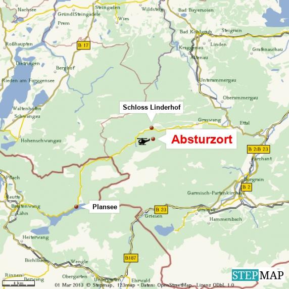 Hubschrauberabsturz bei Schloss Linderhof