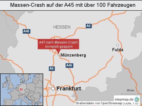 Massen-Crash auf der A45 mit über 100 Fahrzeugen