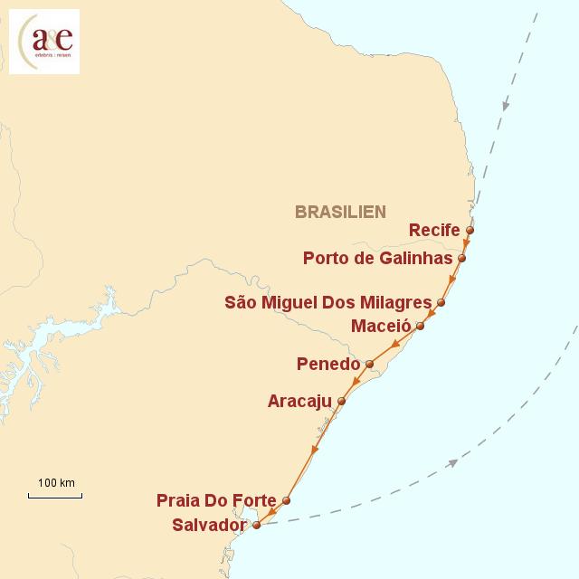 Routenkarte zur Reise Küste des Nordostens