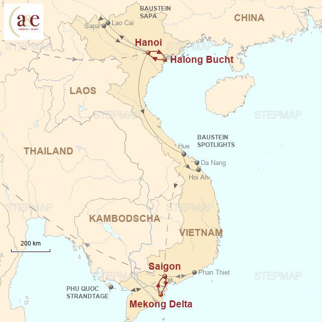 Routenkarte zur Reise Private Kreuzfahrten in Halongbucht & Mekongdelta
