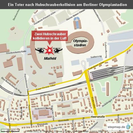 Ein Toter nach Hubschrauberkollision am Berliner Olympiastadion