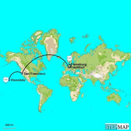 """So wird also die Anreise aussehen: Per Auto von Flensburg nach Hamburg. Ca. 2 Stunden. Zeit in Hamburg bis Abflug nach Frankfurt ebenfalls ca. 2 Stunden. Flug nach FRA 1 Stunde. Aufenthalt in FRA ca. 2 Stunden. Flug nach San Francisco, ca. 14 Stunden. Aufenthalt in SFO ca. 3 Stunden. Flug nach Honolulu ca. 5 Stunden. Summasummarum: In """"nur"""" ca. 29 Stunden bin ich fast einmal um die Welt und werde wahrscheinlich auf dem allerletzten Loch pfeifen, wenn ich endlich in Honolulu den hawaiianischen Boden berühre !"""