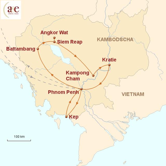 Routenkarte zur Reise Unbekanntes Land der Khmer