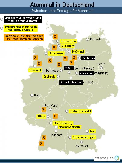 """Atommüll in <span class=""""rtr-schema-org"""" itemscope="""""""" itemtype=""""http://schema.org/Place""""><meta itemprop=""""name"""" content=""""Deutschland"""">Deutschland</span>: Zwischen- und Endlager für Atommüll"""