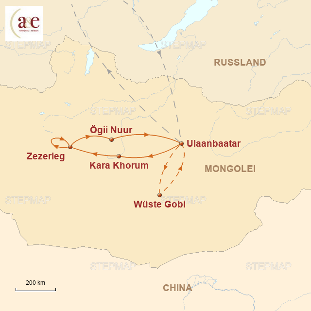Routenkarte zur Reise Erben des Dschingis Khan 2016