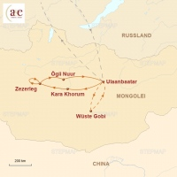 Routenkarte zur Reise Erben des Dschingis Khan