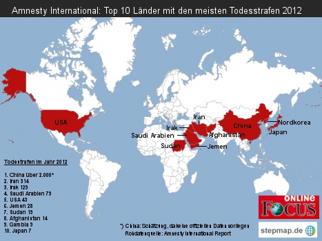 Amnesty International: Top 10 Länder mit den meisten Todesstrafen 2012