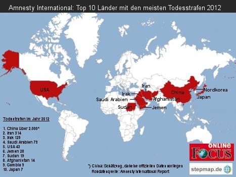 Amnesty International: Top 10 Länder mit den meisten Todesstrafen 2012