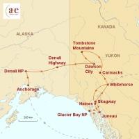 Routenkarte zur Reise Alaska & Kanada: Wildnis und Mitternachtssonne
