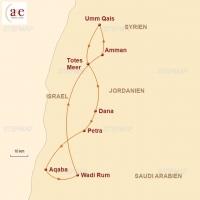 Routenkarte zur Reise Jordanien – Rote Wüste, Meer und Felsenstadt