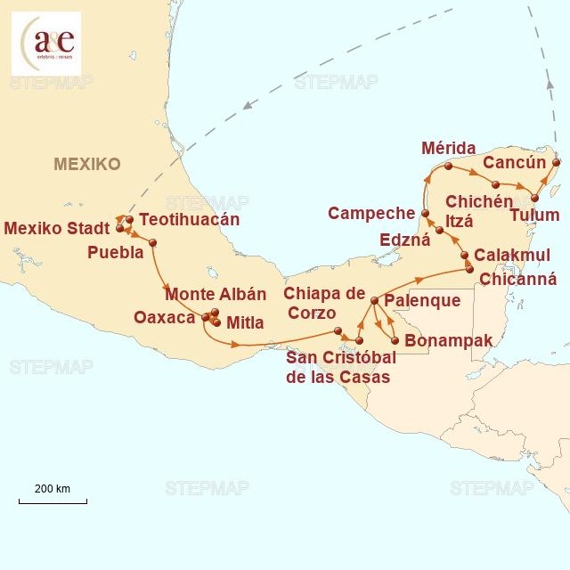 Routenkarte zur Reise Aktivtour ins Mayaland