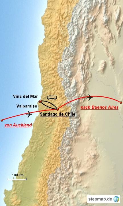 Leider werden wir in Chile nur im Zentrum des Landes bleiben - hier unsere Route im ersten Land Südamerikas.