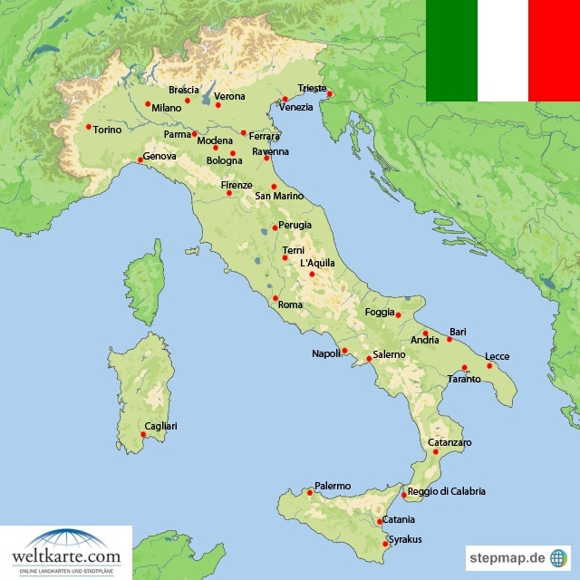 italien weltkarte Landkarte Italien (Übersichtskarte) : Weltkarte.  Karten und  italien weltkarte