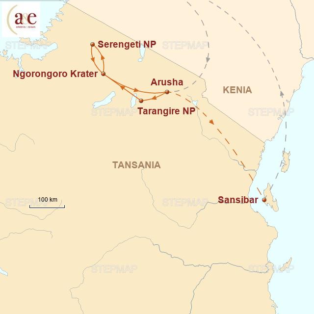 Routenkarte zur Reise Safari und Sansibar
