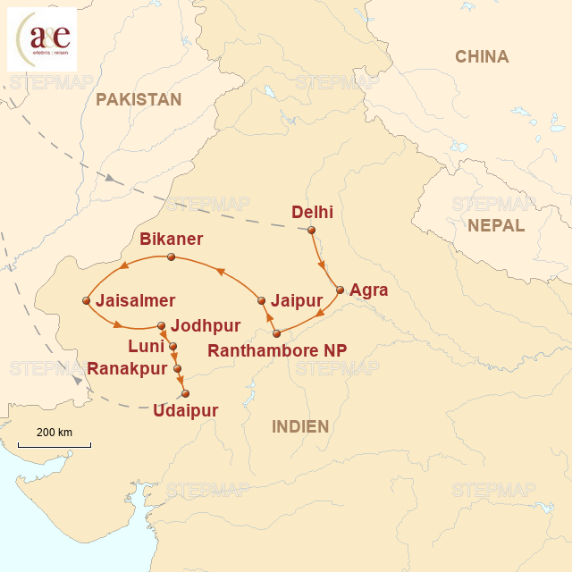 Routenkarte zur Reise Rajasthan intensiv