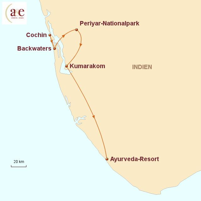 Routenkarte zur Reise Südindische Impressionen (Ayurveda-Vorprogramm)
