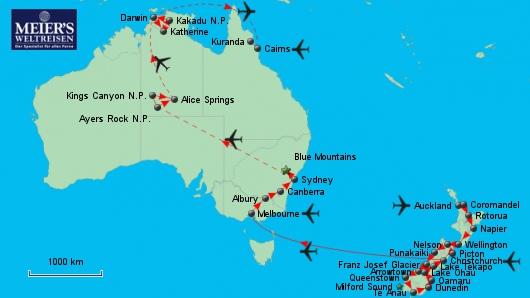Kontraste Neuseelands und Australiens