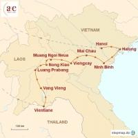 Routenkarte zur Reise Abenteuer Indochina