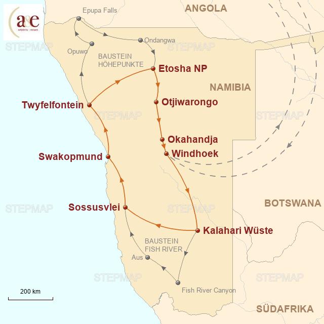 Routenkarte zur Reise Namibia intensiv