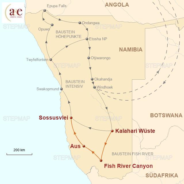 Routenkarte zur Reise Fish River Canyon & Wüstenpferde