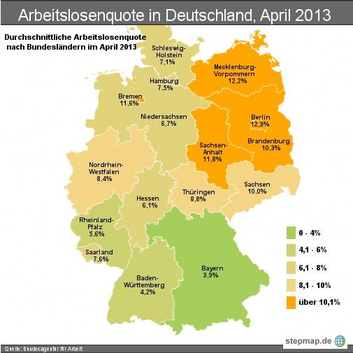 Arbeitslosenquote in Deutschland, April 2013