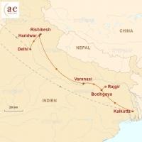 Routenkarte zur Reise Göttin Ganga – Reise entlang Indiens mystischer Lebensader