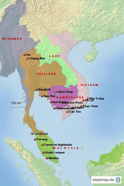 Südostasien - da ungefähr solls hingehen!