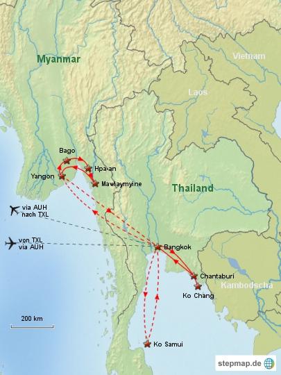 Reiseverlauf Thailand Myanmar 2013