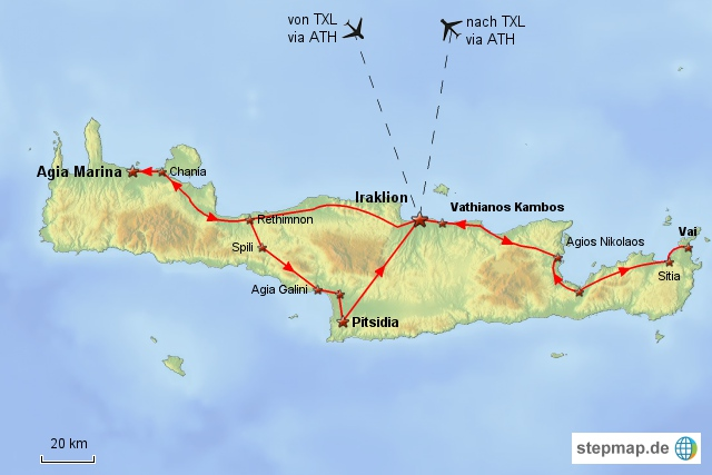 Reiseverlauf Kreta 2004