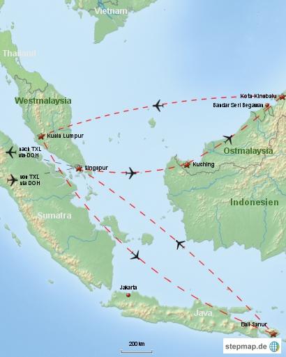 Reiseverlauf Südostasien 2009