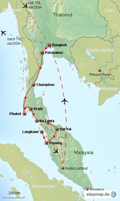 Reiseverlauf Südostasien 2008