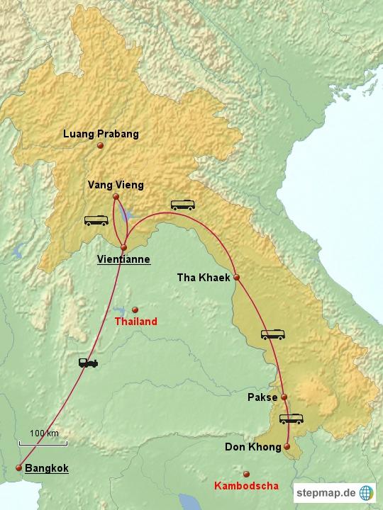 Hier eine Karte mit unseren Reisezielen in Laos.