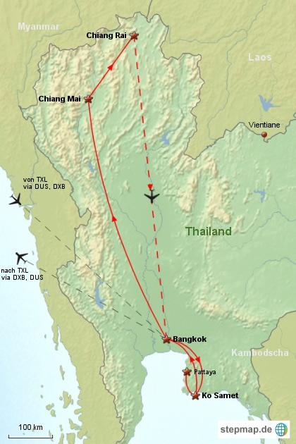 Reiseverlauf Thailand 2005