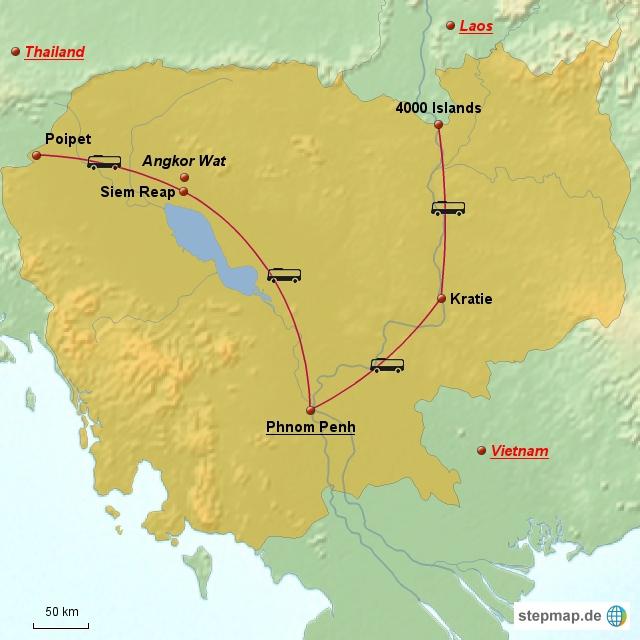Dies ist die Route, die uns durch Kambodscha führen wird.