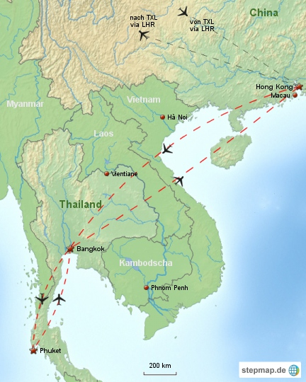 Reiseverlauf Hongkong Thailand 2001